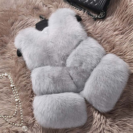 Wholesale Faux Fur Vest Jacket - 2016 Winter Fox Fur Vest Faux Fur Vest Women Jacket Mink Waistcoat Outerwear Short Soft Women Jacket Outerwear Fur Coat Gilet