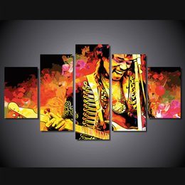 Wholesale Music Canvas Painting - 5 Pcs Set Framed HD Printed Jimi Hendrix Music Guitarist Picture Wall Art Canvas Room Decor Poster Canvas Modern Oil Painting