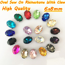 Wholesale Element Shoes - 6x8mm 100pcs lot Multicolor DIY Oval Glass Crystal Sew On Rhinestone With Claw For Clothing Bags Shoes Accessories