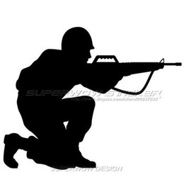 Wholesale Automotive Cartoons - GUN Automotive Field Military M-16 Gun Reflective Sticker Firearms E-Family Professional car with high-strength reflective film