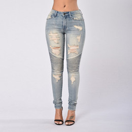 Wholesale Sexy High Waisted Hot Pants - High Waisted Jeans Skinny 2017 Hot Autumn Women Ripped Distressed Jeans Sexy Blue Hole Club Party Pencil Denim Jeans Femme