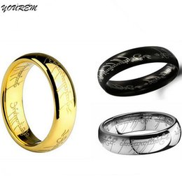 Wholesale Stainless Steel Rings 6mm - Stainless steel lord jewelry for women ring men size 6MM width good quality gold plated unisex rings drop ship fj229 YOUREM