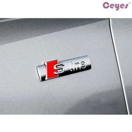 Wholesale Audi S Line Sticker - Car Emblem Badges Stickers for Audi S line 3D Metal Badges Stickers Matte Silver Car Accessories Styling