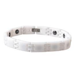 Wholesale Ceramic Magnetic Bracelets Black - Argositment Fashion Black and White Jewelry Healing FIR Magnetic Titanium Bio Energy Bracelet For Blood Pressure Accessory