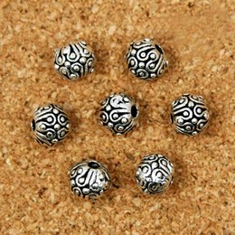 Wholesale Tibetan Bracelets Red - 6MM 100Pcs Metal Beads Charms Tibetan Silver Tone Round Dots Spacer Loose Beads Fit Necklace And Bracelet Making
