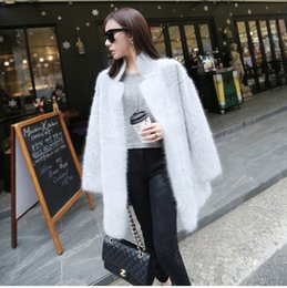Wholesale Long Pure Cashmere Coat Women - Wholesale-2016 New Genuine Mink Cashmere Sweater Women Pure Cashmere Cardigan Knitted Mink Jacket Winter Long Fur Coat Free Shipping S125