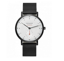 Wholesale Watches Army Style - New NOMOS Bauhaus style men's high-grade two-pin half-belt quartz watch Luxury Brand Date Men Casual Watch Army Military Sports Men Watches
