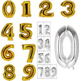 globos de papel de color Rebajas Globos de aluminio de 16 pulgadas de color oro plata color árabe número 0-9 Foil Balloon Christmas Birthday Party Decoration C155Q