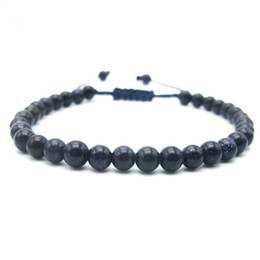 Wholesale Blue Wood Beads - Wholesale- Handmade Blue sandstone Beads Shambala Bracelet Lucky Bangle Gift Charm Fashion Jewelry