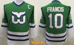 Wholesale Ron Francis Jersey - Youth Hartford Whalers Throwback Ron Francis Jerseys Kids Vintage CCM #10 Ron Francis Green Boys Stitched Hockey Jersey Cheap
