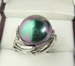 Wholesale South China Sea Black Pearls - Black South Sea Shell Pearl Inlay jewelry Ring size: 7 8 9