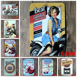 Wholesale Motorcycle Ornaments - Retro Tin Posters Advertising Girl Garage For Motorcycle Iron Painting 20*30cm Metal Tin Sign Full Service Ornaments Personality 4rjb
