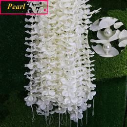 Wholesale Orchid Pearl - ELEGANT 20pcs lot flower strip tropical orchids flower PEARL strip wedding decorations noble home decoration accessories 1m pcs