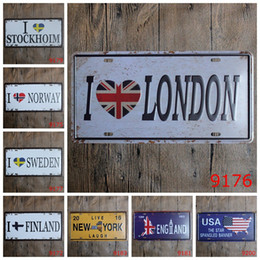 London Sweden Norway Finland England Usa Car Metal License Plate Vintage Home Decor Tin Sign Bar