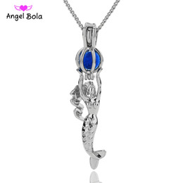 Wholesale wish pearl heart - SHY MERMAID Pearl Cage Pendant Necklace SILVER wish akoya oyster