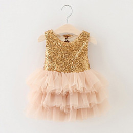 Wholesale Kids Dress Free Ems - Wholesale- EMS DHL Free Shipping toddler Little Girl's Holiday Dress kids Lace Sequin Tiers Cake dress Princess Party Dress 90-130