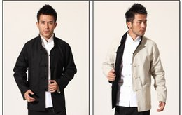 Wholesale Lead Suit - Tang suit men on both sides of cotton linen men's hanfu costume leading the clothing in the spring and autumn coat
