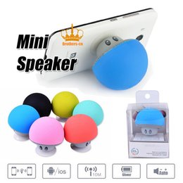 Wholesale Bluetooth Mushroom - Portable Bluetooth Speaker Wireless Handsfree Mushroom Speaker With Sucking Disc Bracket for iphone samsung MP3 pad tablet pc with retail