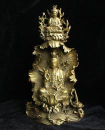 Wholesale Kwan Yin Statues - Chine Bouddhisme Laiton Shakyamuni Bouddha Sur Kwan-yin GuanYin Déesse Statue