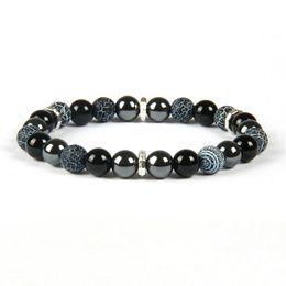 Wholesale Quality Bracelet Ring - Top Quality Mens Chakra Bracelet Wholesale 8mm Mix Weathering and Black Onyx Stone Beaded Bracelets For GIft