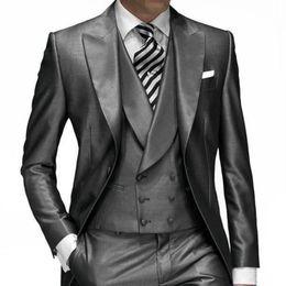 Wholesale Tuxedo Styles Morning - Groom Tuxedos Groomsmen Morning Style Best man Lapel Groomsman Men Wedding Suits Men Blazer Suits (Jacket+Pants+Tie+Vest)