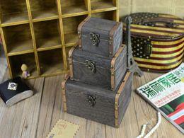 Wholesale Wood Jewelry Organizer Case - 24sets lot Fast shipping 3pcs set Vintage Wooden Case Box Jewelry Pearl Necklace Box Bracelet Storage Organizer