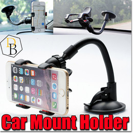 Wholesale Used Long Arm - For iPhone 7 Double Clip Car Mount, Easy-To-Use Universal Long Arm neck 360°Rotation Windshield Phone Holder for Cell Phone Retail Package
