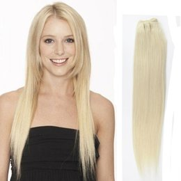 "Wholesale Wholesale Weft - Top Quality Light Blonde #60 Human Hair Weft Wavy Straight 10""-28"" 3 Bundles 300G Malaysian Remy Hair Extensions Weaving"