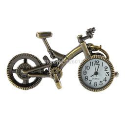 Wholesale Mini Pocket Watch Necklaces - Wholesale-Retro Mini Bronze Bike Bicycle Design Quartz Pocket Watch Pendant Necklace Chain Worldwide Store
