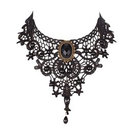 Wholesale Retro Miao Collar Necklace - Fashion Necklaces For Women Beauty Girl Handmade Jewerly Gothic Retro Vintage Lace Necklace Collar Choker Necklace bib gem chain