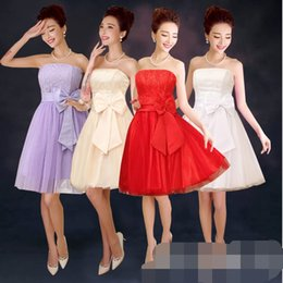 Wholesale Strapless Dinner Wedding Dresses - 2017 bride wedding dress red bow short section wipes toast wine bridesmaid dinner new poncho skirt ZX016