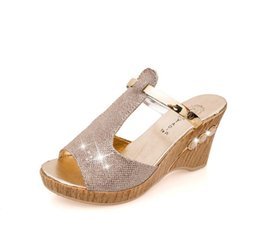 Wholesale Ladies Sexy Leather Sandals Wedge - 2017 high quality fashion ladies cool slippers sexy fashion diamond women sandals summer cool Zapatos mujer Chaussures femme