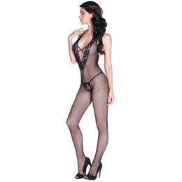 Wholesale Body Fishnet - Sexy Women Fishnet Body Stocking Sheer Bodysuit Halter Hollow Out Deep V-Neck Backless Stretch Slim Lingerie Nightwear Black