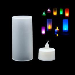 Wholesale Plastic Led Electronic Candle - Wholesale- New 7 Color LED Changing Electronic Flameless Candle Lamp FJ88