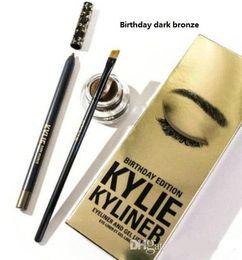 Wholesale Wholesale Black Cream Eyeliner - Kylie Cosmetics Birthday Limited Edition Eyeliner Kit and gel liner Dark Bronze Black brown colors 1 set=eyeliner+brush+cream