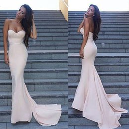 Wholesale One Piece Girls Classic - 2017 Cheap Simple Mermaid Prom Dresses Chapel Train Sweetheart Dark Ivory Satin Long Evening Event Wears Girl Formal Reception Gowns Cheap