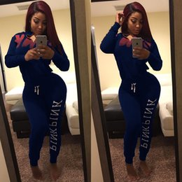 Wholesale Ladies Cycling Sets - Womens Asymmetric Spring Printed Letter Sets Tops+Pants 2Pcs Suits Lady Tracksuit High neck Tracksuits Two Piece Pants Free Shipping