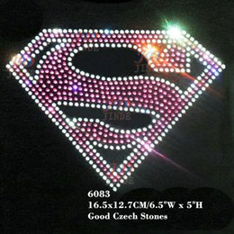 Cristal de superman online-Supergirl / Superman Hotfix Iron On Rhinestone BLING Transferencia de calor Sticker in Pink / Crystal Para camiseta o disfraz 30pcs / lot