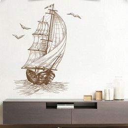 Wholesale Sailing Boat Murals - The Sailing Boat Wall Stickers Safe Trip wherever you go Wall Mural Poster Decor Living Room Sofa Background Decor Decals Paper