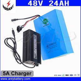 Wholesale Motor Electric Ebike - 1000W 48V Electric Bike Battery 48V 24Ah For Bafang Motor 18650 Lithium Battery 48V With 5A Charger eBike Battery Free Shipping