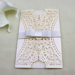 Wholesale Wholesale Butterfly Houses - Butterfly Lace wedding invitation cards Nude Pink Birthday Party Invitations Size Is Customized Free Ship Wholesale