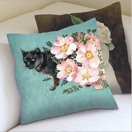 Wholesale Decorative Flowers Prices - 45*45cm decorative pillows with cat and flowers printed for sofa and car creative home furnishing cushion cat, price cheap