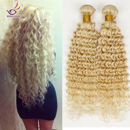 Wholesale 22 Virgin Blonde Extensions - Irina beauty hair deep wave style virgin brazilian 613 hair extensions blonde deep curly 3pcs lot honey lightest blonde hair bundles