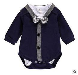 Wholesale Boys Romper Bow Tie - Gentleman Baby Boys Outfits Autumn Cotton Long Sleeve Romper+Cotton Tie Bow Cotton Onesie Spirng Infant 2pcs Suits 7485