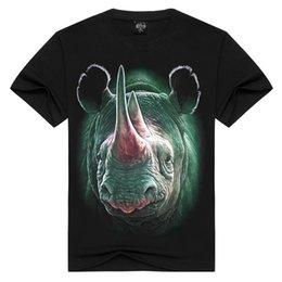 Wholesale Rhinoceros 3d - 2017 Fashion Brand Men's T shirt 3D Rhinoceros animal T shirt Summer Short Sleeve Shirts Tops 100%Cotton Tees Free Shipping