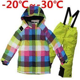Wholesale Girls Outdoor Long Jackets - Wholesale- Children Winter Clothing Set Teenage Girls Ski Suit Windproof Outdoor Girls Ski Jackets+Bib Pants 2pcs
