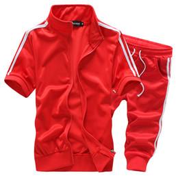 Wholesale slim fit suit men set - Wholesale-high quality fashion summer casual slim fit youths mens tracksuit set suit M-5XL JPYG29