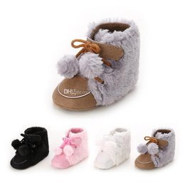 Wholesale christmas baby boots shoes - Baby First Walkers kids girls boys boots toddler Pompons winter warm snow boots shoes infant Christmas gifts C2511