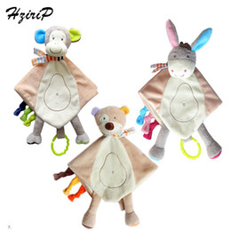 Wholesale Baby Donkey Toy - Wholesale- 2017 New Baby Super Soft Donkey & Bear & Monkey Hand Puppet Comforting Doll Plush Towel Multifunctional Grasping Rattle Toys