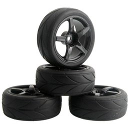 Wholesale Tyre Rc Cars - 4pcs RC Flat Racing Tires Tyre Wheel Rim Fit HSP HPI 1:10 On-Road Car 9077-6081